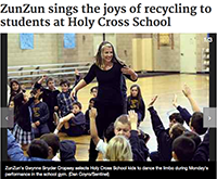 Santa Cruz Sentinel - Zun Zun Sings the Joys of Recycling to students at Holy Cross School - February 11, 2013